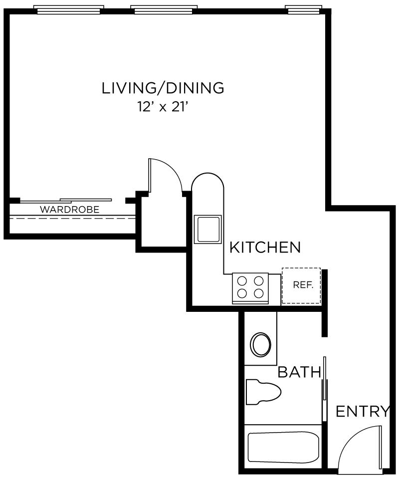 Plan A1 - Studio, 1 Bath Floor Plan
