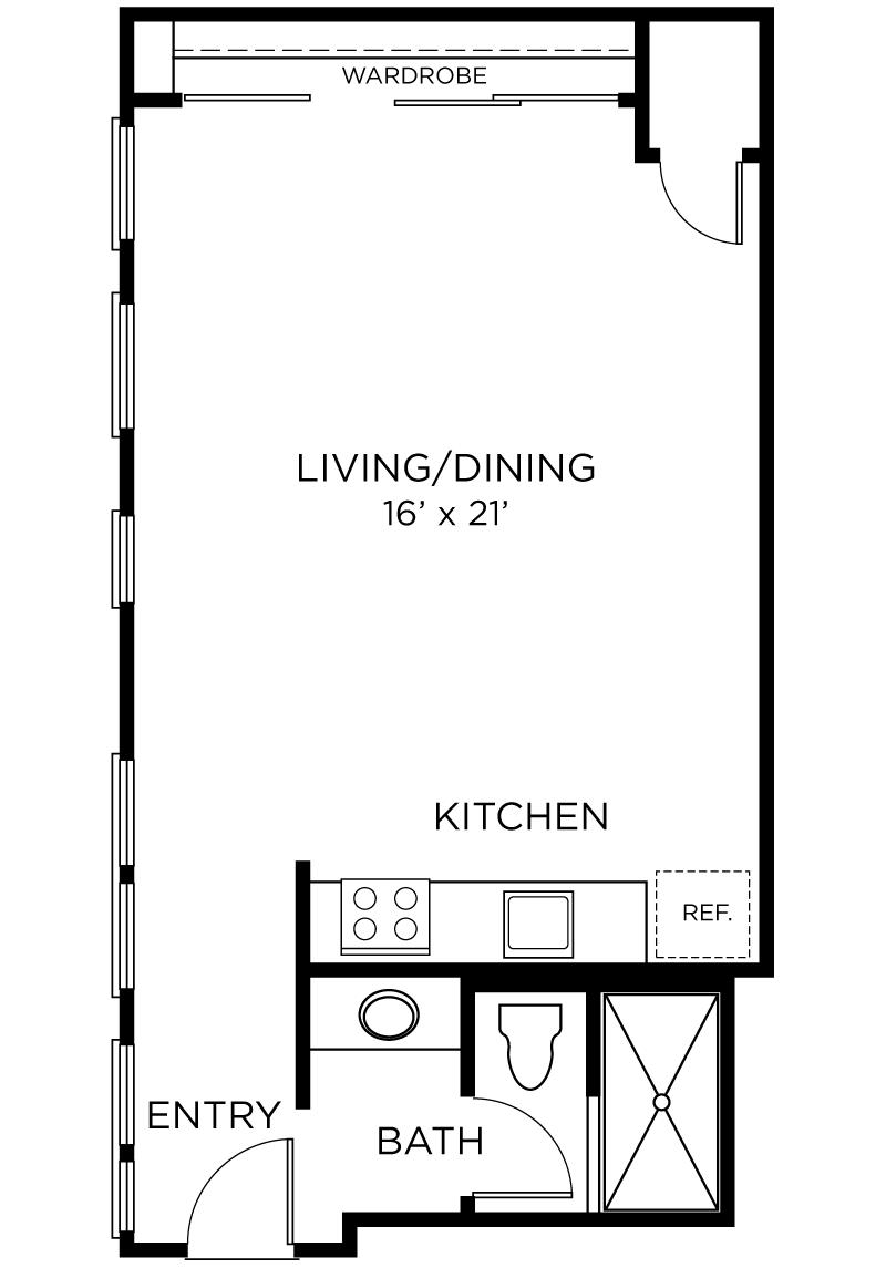 Plan A2 - Studio, 1 Bath Floor Plan