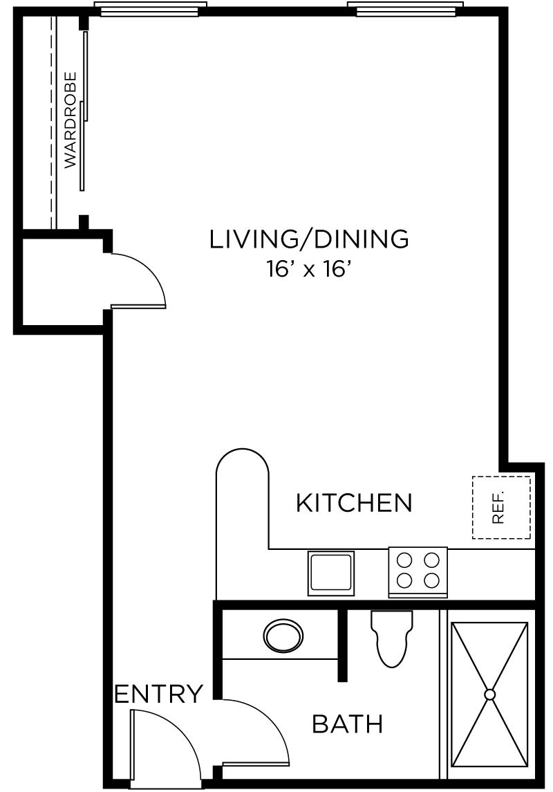 Plan A3 - Studio, 1 Bath Floor Plan
