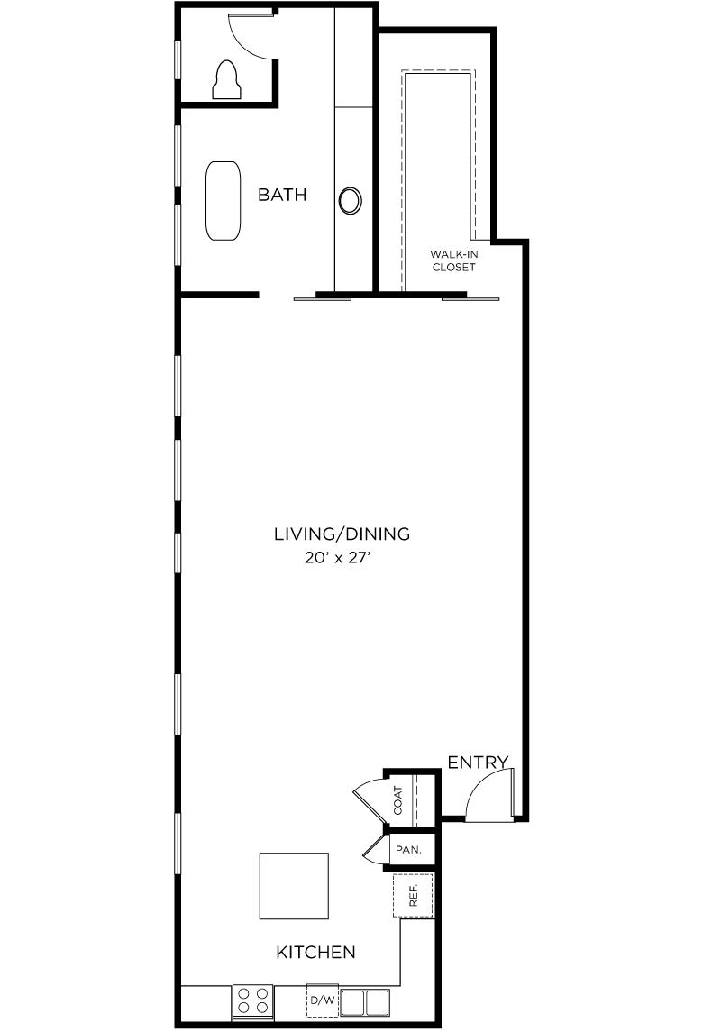 Plan A4 - Studio, 1 Bath Floor Plan