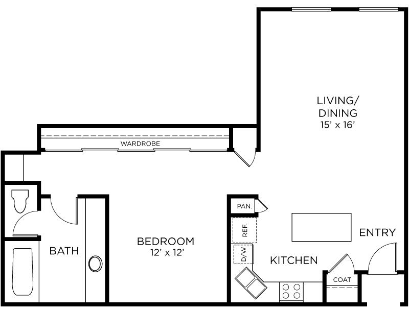 Plan A10 - 1 Bedroom, 1 Bath Floor Plan