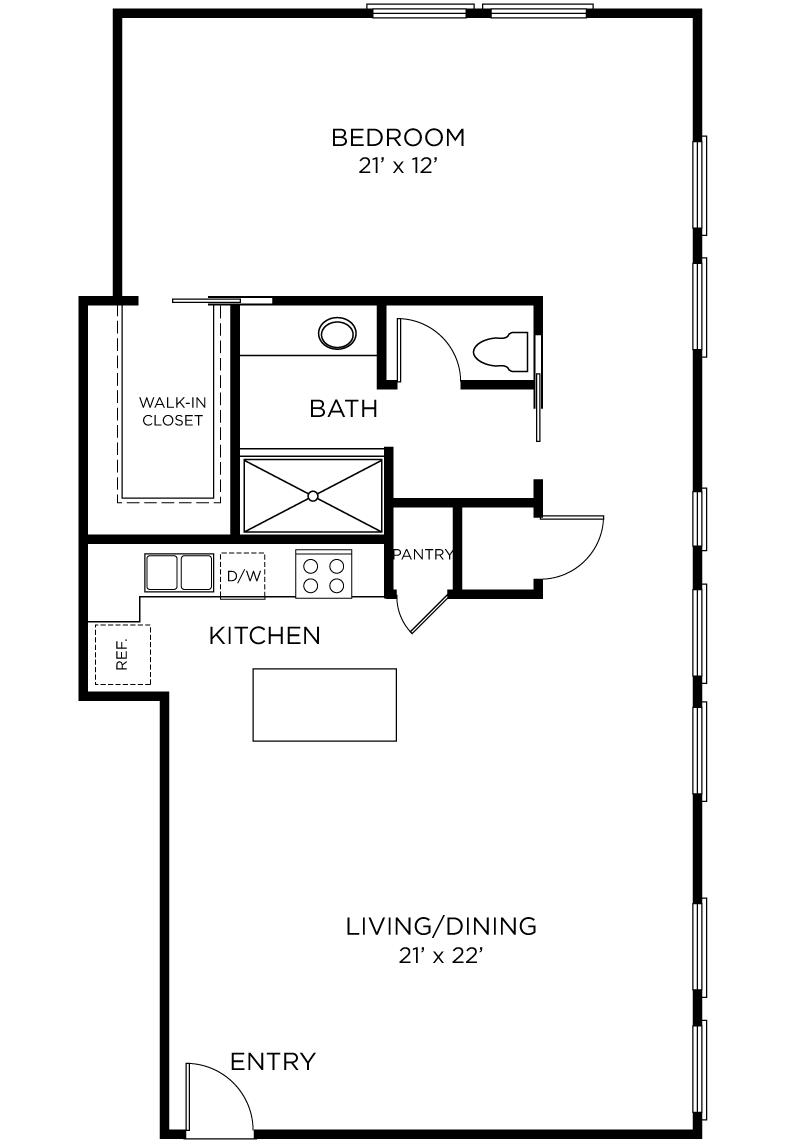Plan A11 - 1 Bedroom, 1 Bath Floor Plan