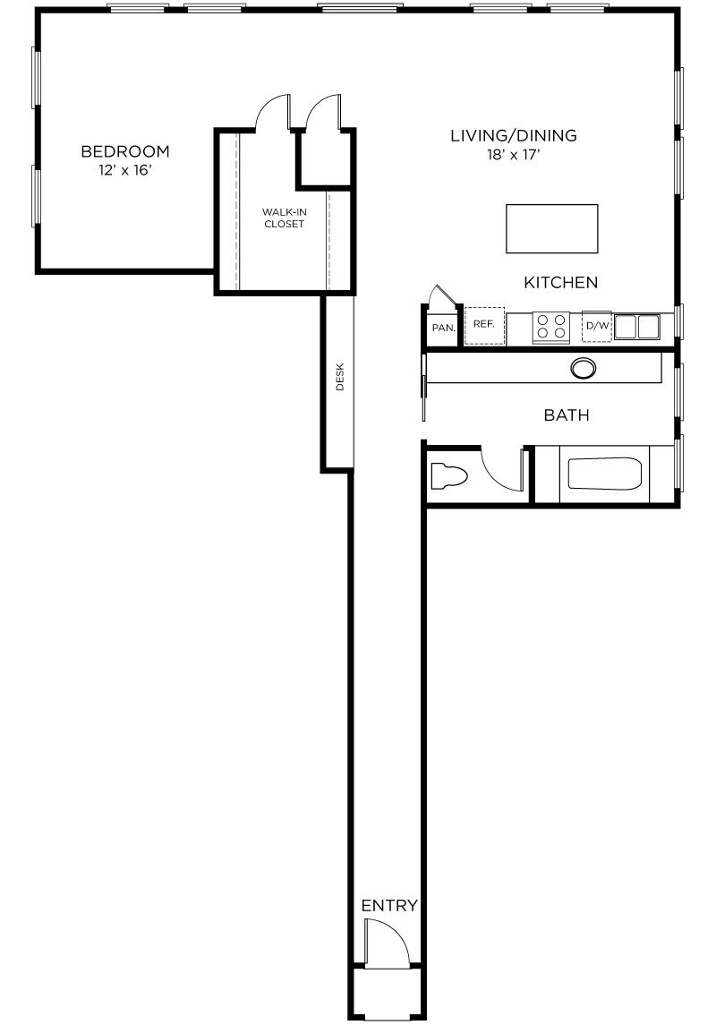 Plan A12 - 1 Bedroom, 1 Bath Floor Plan