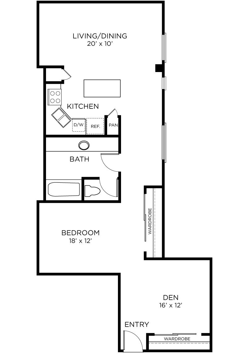 Plan A13 - 1 Bedroom + Den, 1 Bath Floor Plan