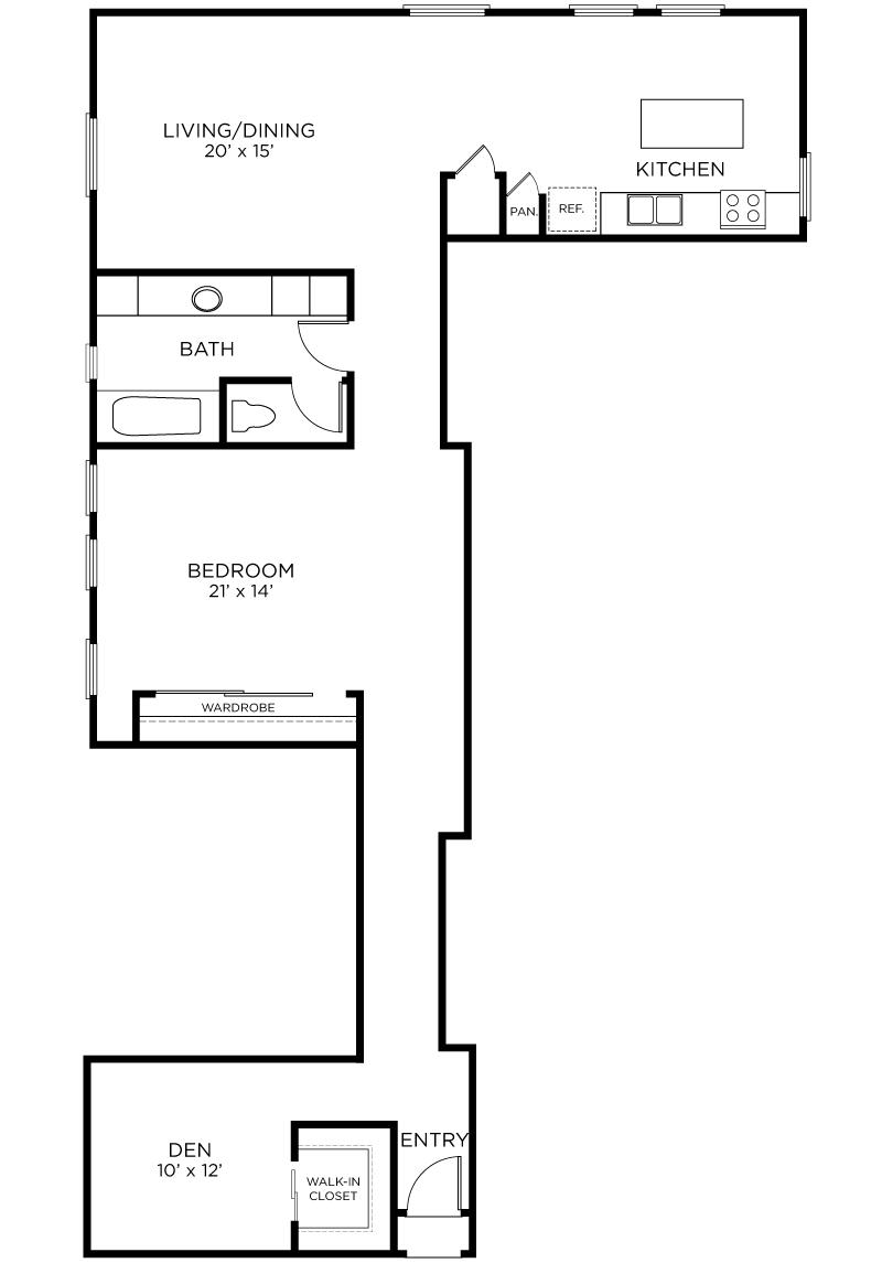 Plan A14 - 1 Bedroom + Den, 1 Bath Floor Plan
