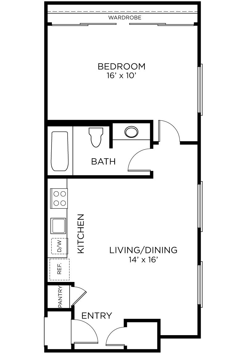 Plan A5 - 1 Bedroom, 1 Bath Floor Plan