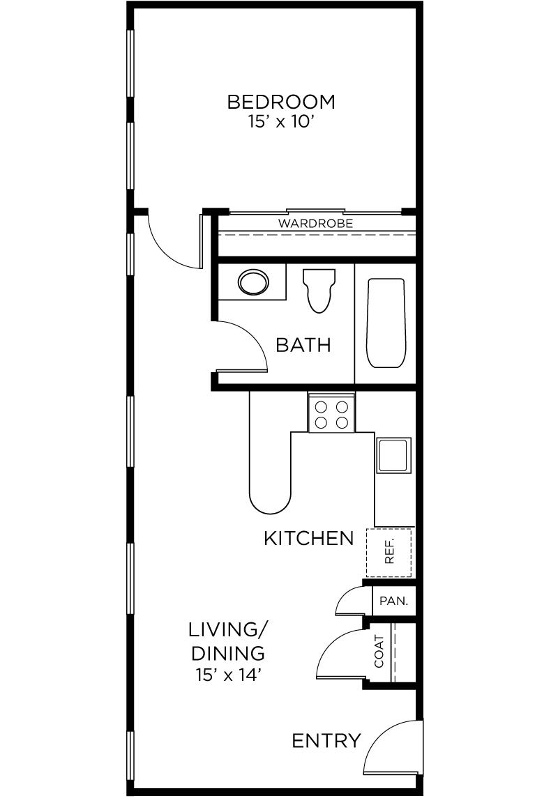 Plan A6 - 1 Bedroom, 1 Bath Floor Plan