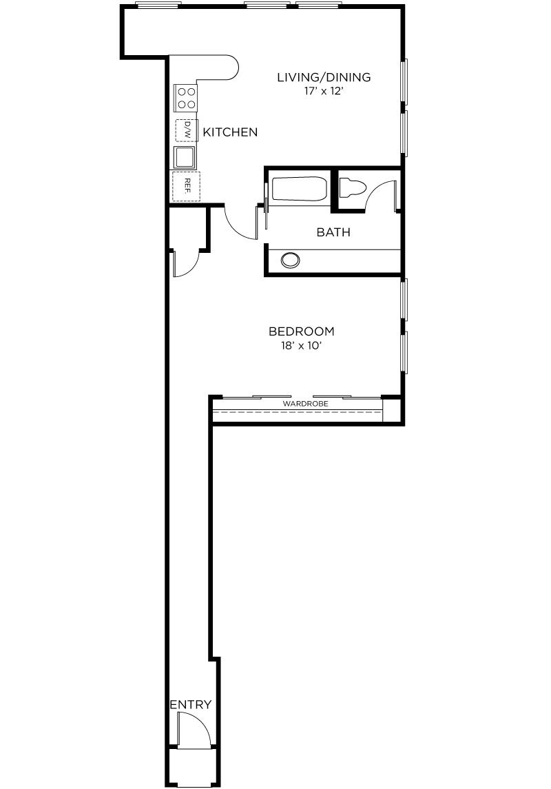 Plan A8 - 1 Bedroom, 1 Bath Floor Plan