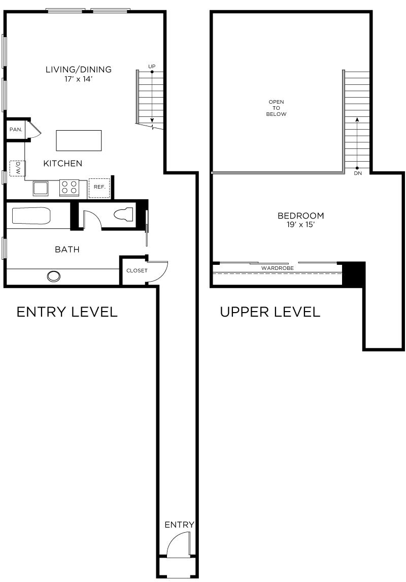 Plan C1 - 1 Bedroom Loft, 1 Bath Floor Plan