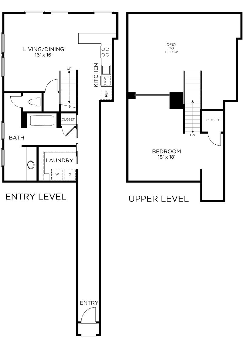 Plan C2 - 1 Bedroom Loft, 1 Bath Floor Plan