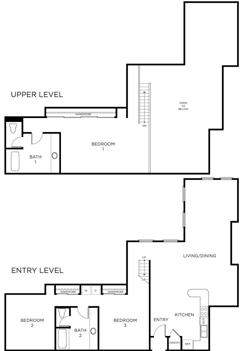Plan C5 - 3 Bedroom Loft, 2 Bath Floor Plan