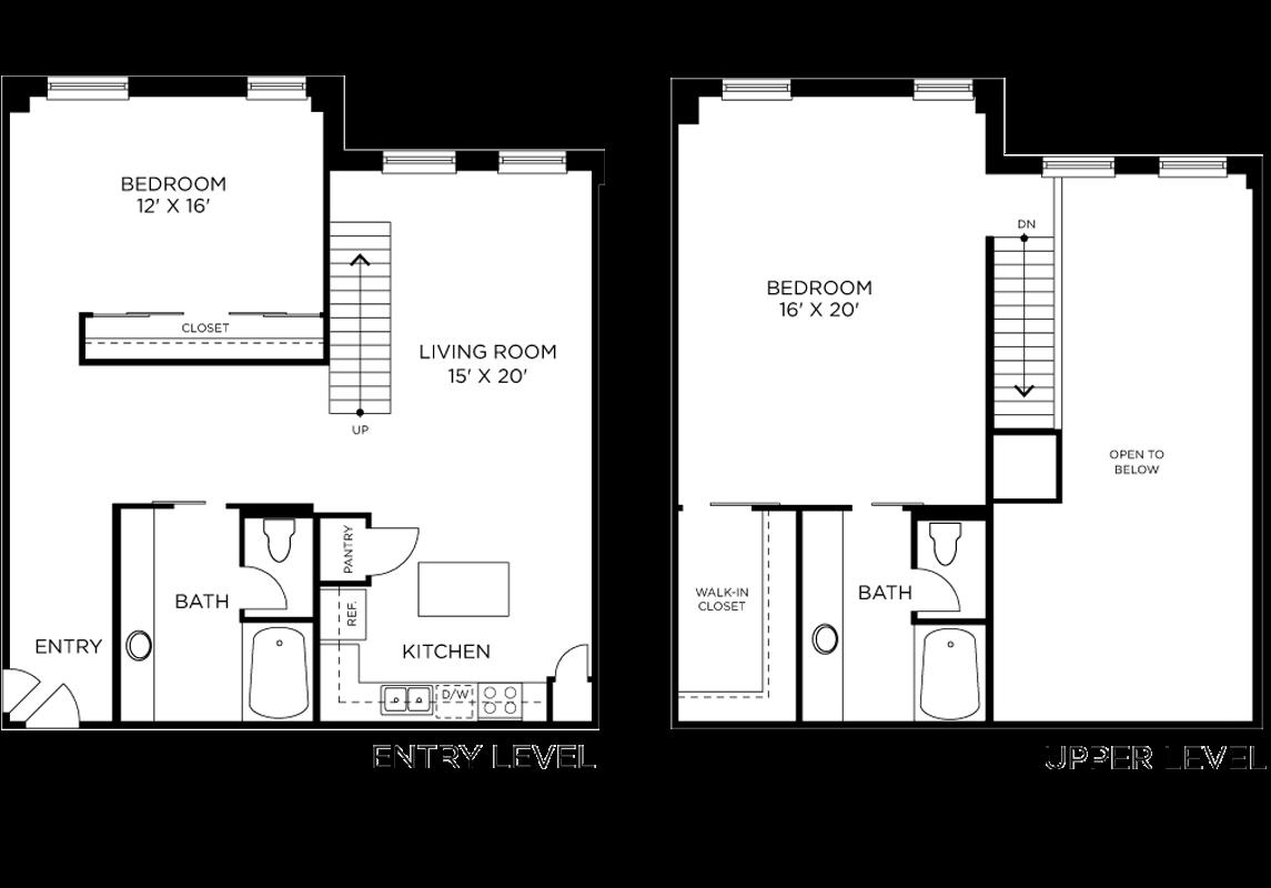 Plan B3 - 2 Bedroom Loft, 2 Bath Floor Plan