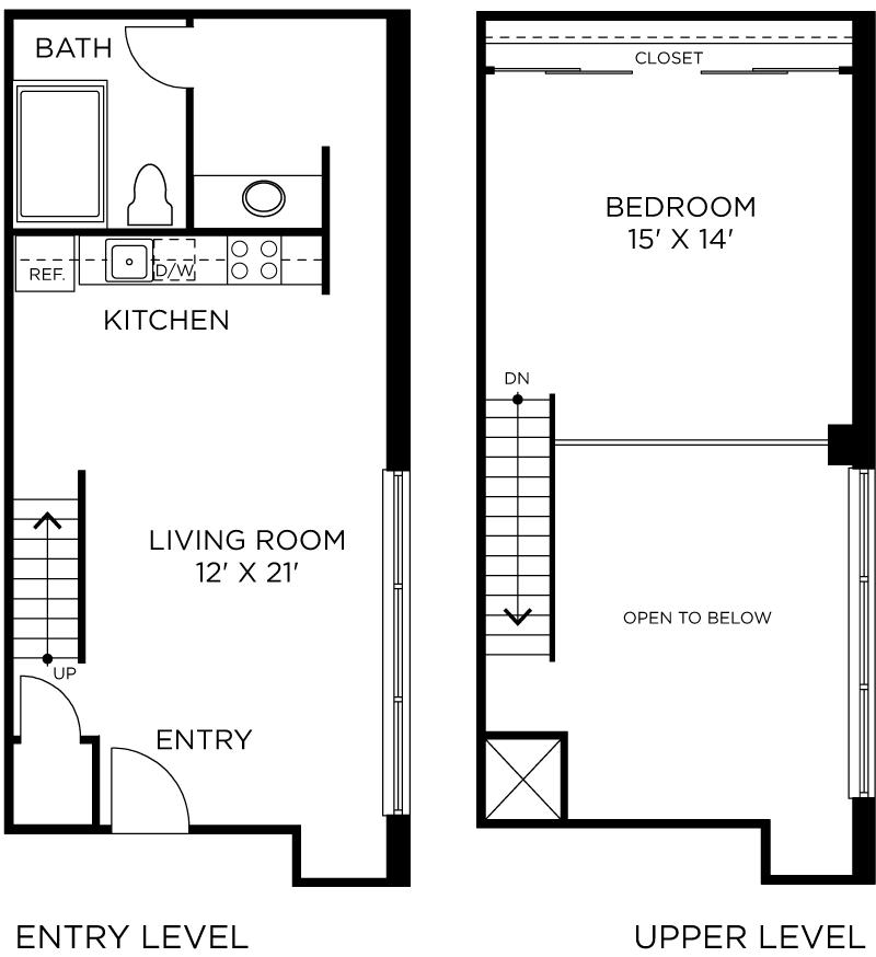 Plan C8 - 1 Bedroom Loft, 1 Bath Floor Plan