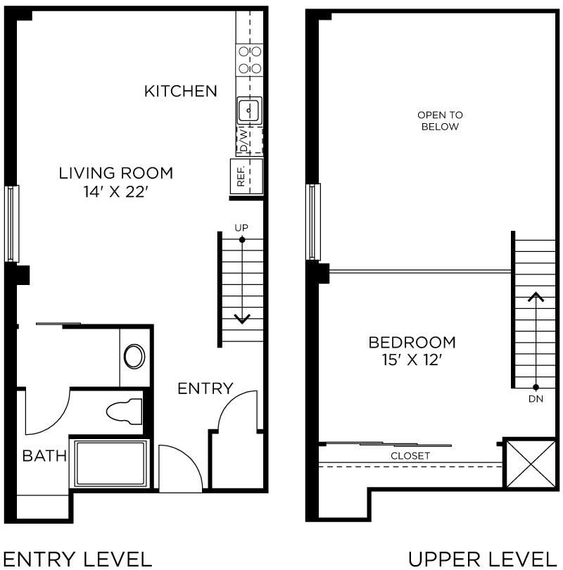 Plan C9 - 1 Bedroom Loft, 1 Bath Floor Plan