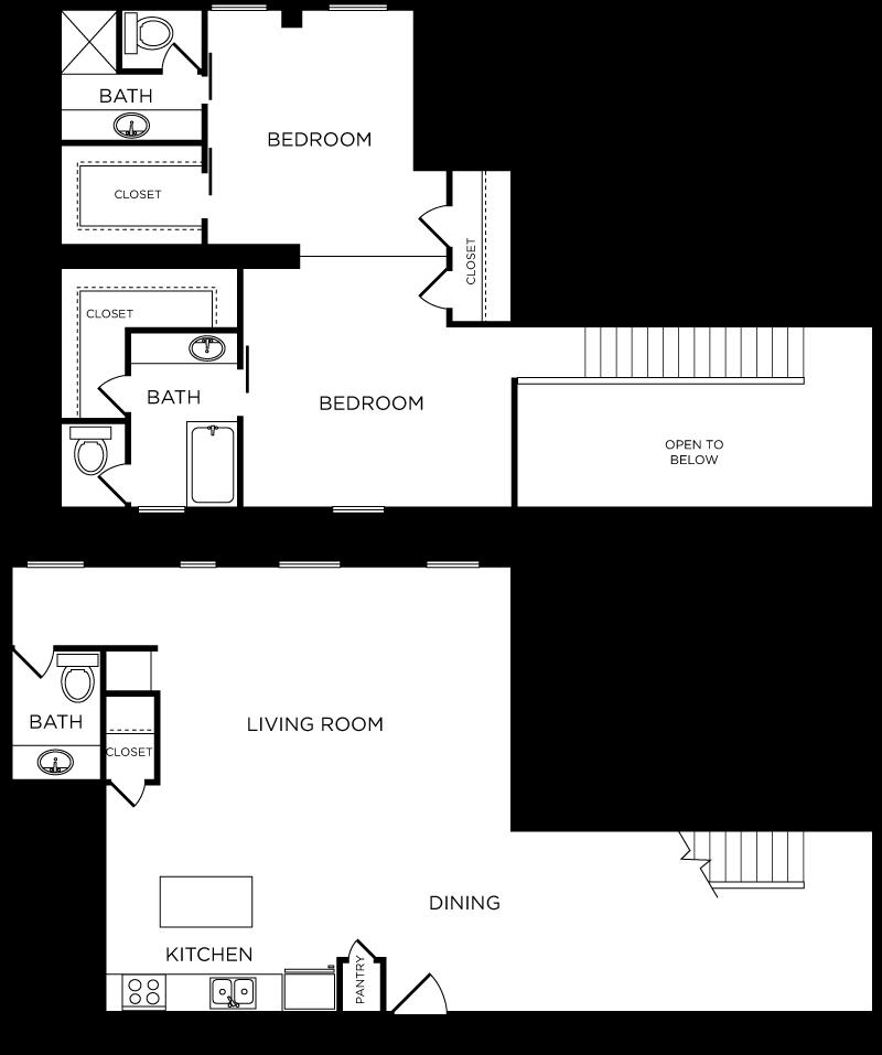 Plan C10 - 2 Bedroom Loft, 2.5 Bath Floor Plan