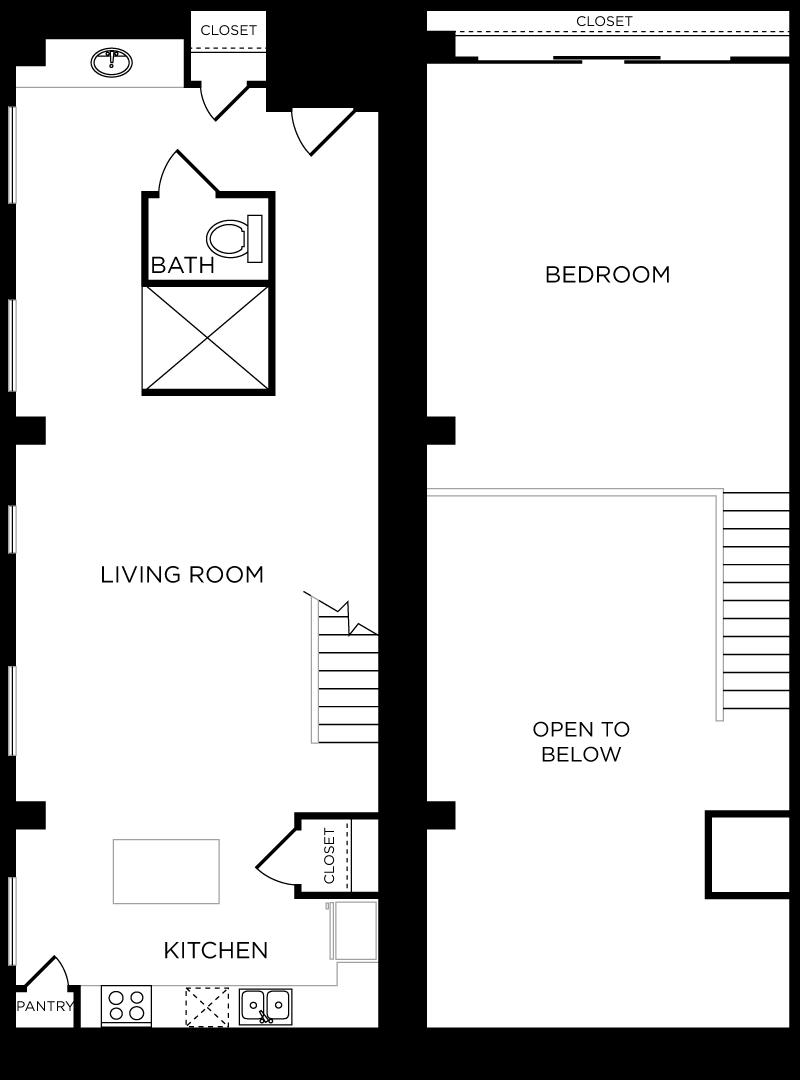 Plan C11 - 1 Bedroom Loft, 1 Bath Floor Plan