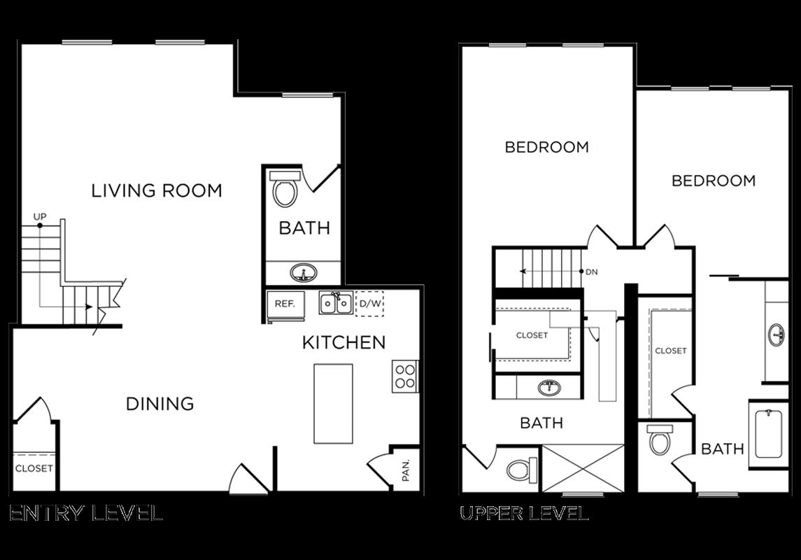 Plan C12 - 2 Bedroom Loft, 2.5 Bath Floor Plan