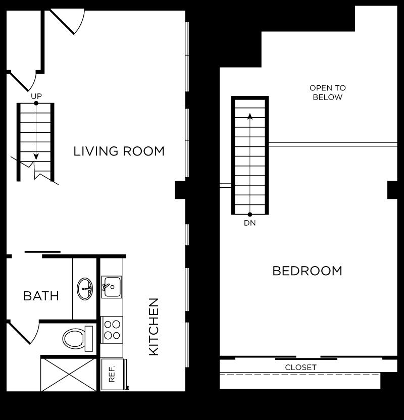 Plan C6 - 1 Bedroom Loft, 1 Bath Floor Plan
