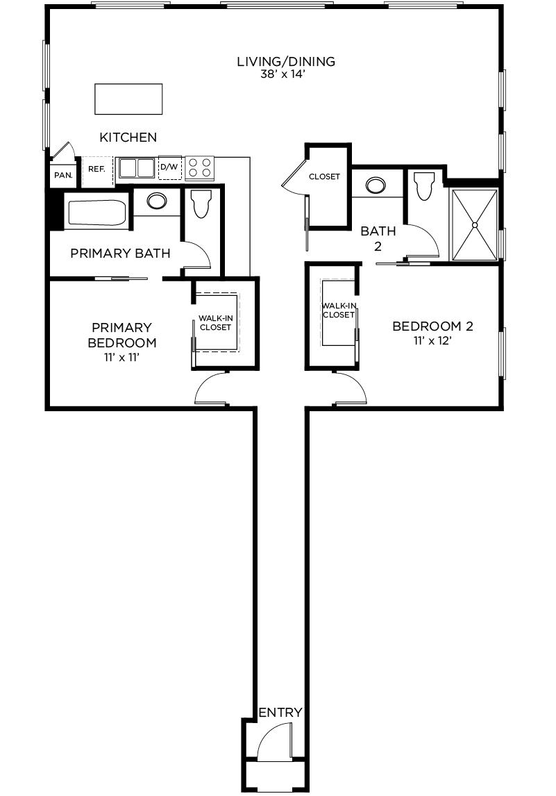 Plan B2 - 2 Bedroom, 2 Bath Floor Plan